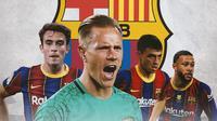 Barcelona - Eric Garcia, Marc-Andre ter Stegen, Pedri, Memphis Depay (Bola.com/Adreanus Titus)