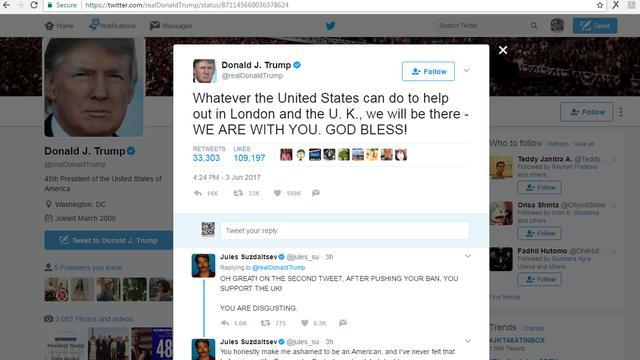 Respons Presiden Amerika Serikat Donald Trump atas Teror London 3 Juni 2017  (Twitter) 8f50ec2acb