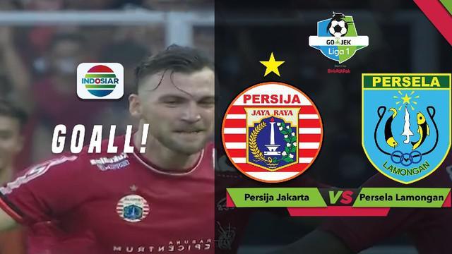 Marko Simic melakukan selebrasi ala Cristiano Ronaldo usai mencetak gol ke gawang Persela Lamongan dalam lanjutan Gojek Liga 1 2018 bersama Bukalapak, Selasa (20/11/2018).