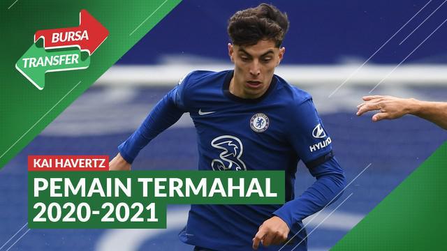 Berita motion grafis 5 transfer termahal pada bursa transfer musim panas 2020-2021. Kai Havertz menjadi pembelian termahal musim ini.