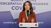 Tim Komunikasi Publik Gugus Tugas Nasional Reisa Broto Asmoro mengatakan IDAI sebut tantangan imunisasi masa pandemi COVID-19 saat konferensi pers secara virtual di Graha BNPB, Jakarta, Selasa (30/6/2020). (Dok Badan Nasional Penanggulangan Bencana/BNPB)
