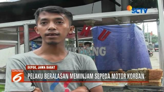 Seorang pedagang gorengan di Depok kehilangan sepeda motornya, setelah menjadi korban hipnotis yang dilakukan seorang pria dengan modus meminjam kendaraannya tersebut.