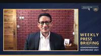 Menparekraf Sandiaga Uno dalam Weekly Press Briefing yang diselenggarakan Senin, 18 Oktober 2021. (dok. Biro Komunikasi Publik Kemenparekraf)