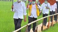 Presiden Joko Widodo bersama rombongan, meninjau lumbung pangan (Food Estate) di Desa Makata Keri, Kecamatan Katiku Tana, Kabupaten Sumba Tengah, NTT. (Foto Istimewah)