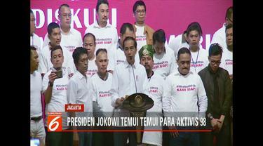 Temui aktivis 1998, Presiden Jokowi minta aktivis berani beri masukan dan koreksi kinerja pemerintah.