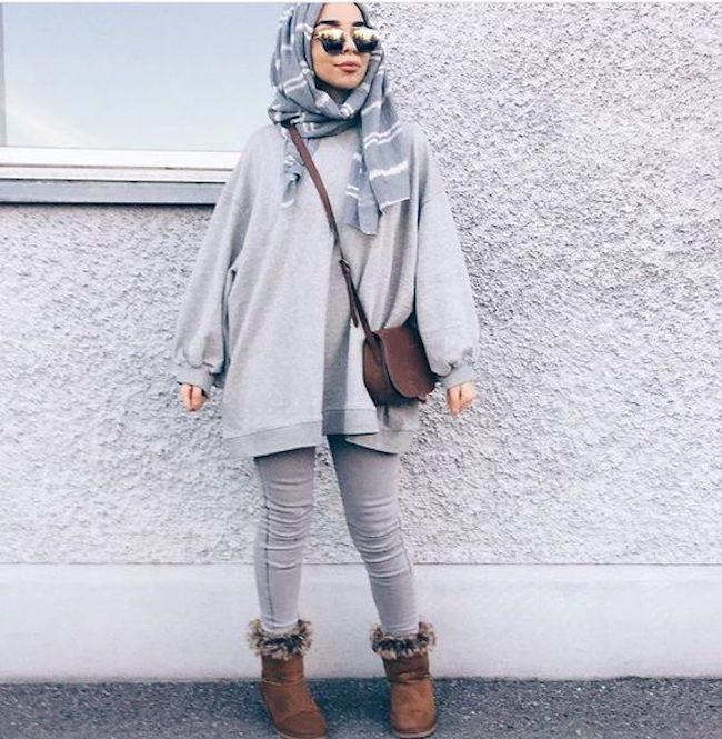 Padu padan busana hijab dengan sweater oversize. (sumber foto: Eman Saber/pinterest)