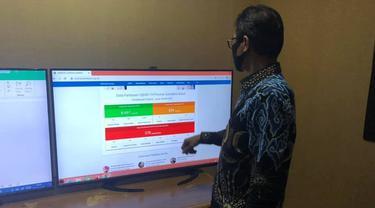 Gubernur Sumbar melihat data pasien corona di provinsi setempat melalui website https://corona.sumbarprov.go.id/