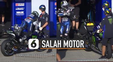 Kejadian lucu terjadi pada gelaran MotoGP di Andalusia pada hari Minggu (26/07/2020). Saat sesi sebelum balapan di mulai, Maverick Vinales hampir salah memakai motor Valentino Rossi.