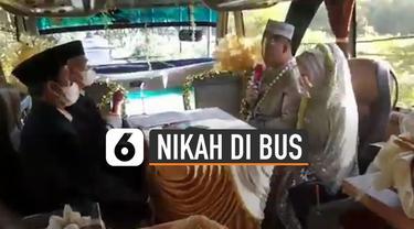 Ada-ada saja resepsi pernikahan yang satu ini. Diadakan di dalam bus karena sedang masa Pandemi.