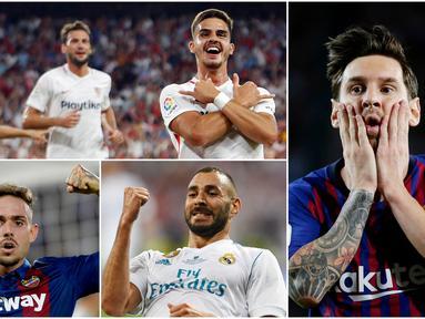 Striker Sevilla, Andre Silva, memuncaki daftar top scorer sementara La Liga 2018/2019 dengan menorehkan 6 gol. Mantan pemain AC Milan ini mempu mengungguli bintang Barcelona, Lionel Messi, yang hanya mengoleksi 5 gol. (Foto-foto Kolase AP dan AFP)
