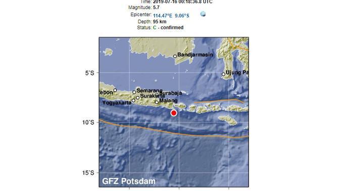 Catatan gempa Bali oleh Situs pusat penelitian Jerman untuk Geosains Telegrafen GFZ, Jerman. (geofon.gfz-potsdam.de)