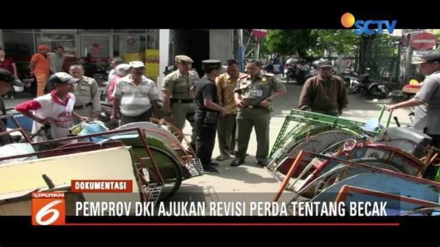 Gubernur DKI Jakarta Anies Baswedan ajukan revisi perda tentang legalisasi operasi becak di Ibukota.