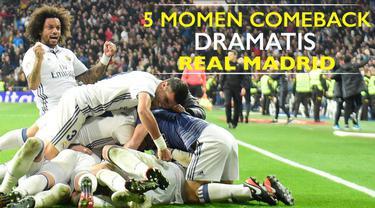 Video listikal mengenai 5 momen comeback kemenangan Real Madrid yang terjadi secara dramatis dalam 10 tahun terakhir.