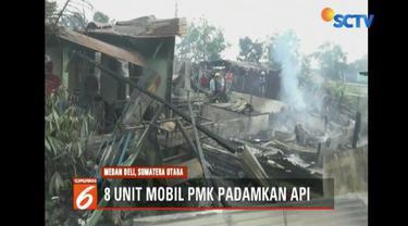 Tabung gas 3 kg meledak, enam rumah di Deli Sedang, Sumatra Utara, terbakar.