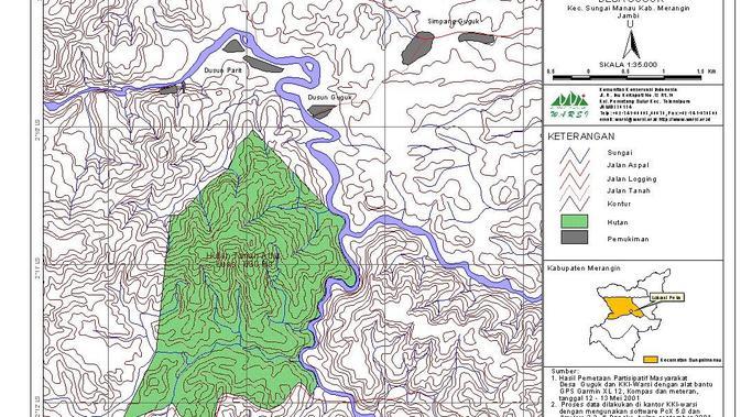Peta Hutan Adat Guguk di Kabupaten Merangin, Jambi. (Liputan6.com/KKI Warsi)