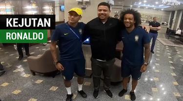 Berita video Ronaldo memberi kejutan untuk tim Brasil di Piala Dunia 2018.