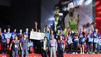 Tim putri PB Mutiara Cardinal Bandung merebut gelar juara Djarum Superliga Badminton 2019 setelah mengalahkan Jaya Raya di Sabuga, Bandung, Sabtu (23/2/2019). (PBSI)