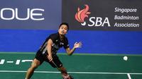 Anthony Sinisuka Ginting menjadi satu-satunya wakil Indonesia di semifinal Singapura Terbuka 2019 dari nomor tunggal putra. (AFP/Roslan Rahman)