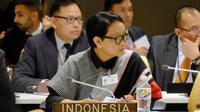 Menteri Luar Negeri RI Retno Marsudi dalam pertemuan sela antar menteri di Sidang Umum PBB 2018 (25/9) (sumber: Kemlu RI)