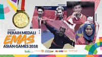 Peraih medali emas Asian Games 2018 dari Tim Indonesia. (Bola.com/Dody Iryawan)