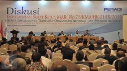 Suasana ruang diskusi di Hotel Crown Plaza, Jakarta, Jum'at (16/10/2015). Menurut Peradi surat keputusan yang dikeluarkan MA dapat mempengaruhi terhadap organisasi advokasi dan profesi advokat di Indonesia. (Liputan6.com/andrian martinus)