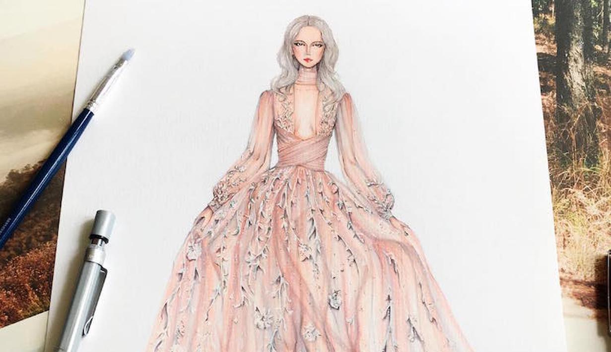 Sketsa Gambar Gaun Eris Tran Ini Bikin Iri Karena Cantik Banget