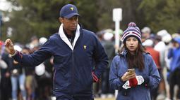 Erica Herman. Adalah seorang manajer restoran atlet di Florida yang menjalin hubungan dengan Tiger Woods sejak 2017 hingga kini, setelah berpisah dengan sang istri Elin Nordegren karena terkuaknya perselingkuhan dengan beberapa wanita pada tahun 2009. (AFP/William West)