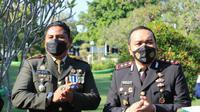 Dandim Blora 0721/Blora, Letkol Inf Andy Soelistyo bersama Kapolres Blora, AKBP Wiraga Dimas Tama. (Liputan6.com/ Ahmad Adirin)