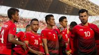 Pemain Indonesia saat melawan Uni Emirat Arab (UEA) pada laga Asian Games di Stadion Wibawa Mukti, Jawa Barat, Jumat (24/8/2018). Indonesia kalah adu penalti dari UEA. (Bola.com/Vitalis Yogi Trisna)