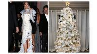 Potret gaun selebriti dunia yang warna dan bentuknya mirip pohon natal. (Sumber: The Sun)