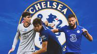 Chelsea - Kepa Arrizabalaga, Marcos Alonso, Olivier Giroud (Bola.com/Adreanus Titus)