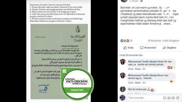 Sebuah kabar tentang pemerintah Tunisia membuat kebijakan baru tentang warganya berpoligami viral di media sosial.