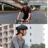 Pevita Pearce dan Luna Maya saat bersepeda