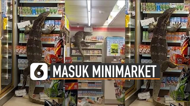 Seekor biawak terekam berada di dalam sebuah minimarket.