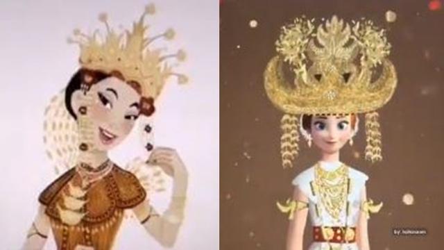 7 Hasil Editan Princess Disney Pakai Baju Adat Indonesia Ini Bikin Kagum Hot Liputan6 Com