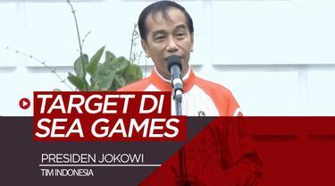 Berita video Presiden Jokowi (Joko Widodo) menegaskan target tim Indonesia di SEA Games 2019 yaitu berada di posisi dua besar klasemen akhir saat melepas kontingen di Istana Bogor, Rabu (27/11/2019). (Video: Biro Pers, Media dan Informasi Sekretariat...