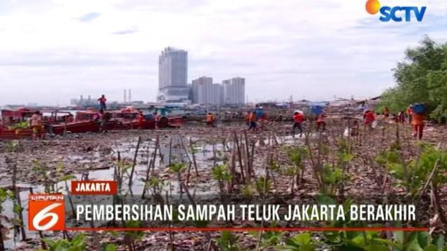 Hari ini menjadi hari terakhir upaya pengerukan sampah di Teluk Jakarta dengan total lebih dari 100 ton sampah telah diangkut.
