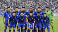 Teerasil Dangda dkk. kembali menelan kekalahan di ajang kualifikasi Piala Dunia 2018 putaran ketiga zona Asia. (AFP/Fayez Nureldine)