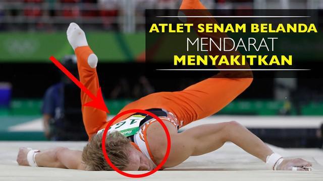 Video atlet senam Belanda, Epke Zonderland, melakukan pendaratan menyakitkan di final palang tunggal Olimpiade Rio 2016.