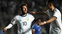 Lionel Messi saat Timnas Argentina melawan Nikaragua dalam laga uji coba di San Juan del Bicentenario Stadium, San Juan, Argentina, Sabtu (8/6/2019). (AFP/Andres Larrovere)