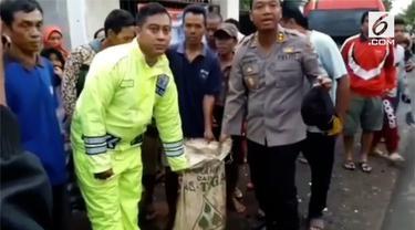 Tim gabungan temukan potongan tubuh manusia di areal persawahan Desa Pasir Panjang, Brebes, Jawa Tengah.
