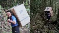 Perjuangan guru gendong kulkas selama 8 jam melintasi hutan demi muridnya. (Sumber: World of Buzz)