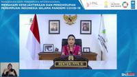 Menteri Pemberdayaan Perempuan, I Gusti Ayu Bintang Darmawati dalam webinar Memahami Kesejahteraan dan Penghidupan Masyarakat Saat Pandemi Covid-19 yang digelar Katadata, Rabu (10/3/2021).