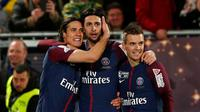 Para pemain PSG merayakan gol ke gawang AS Monaco pada final Coupe de la Ligue di Stade Matmut Atlantique, Bordeaux, Sabtu (31/3/2018). (AP Photo/Thibault Camus)