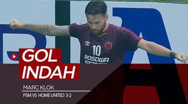 Berita video momen gol indah pemain PSM Makassar, Marc Klok, ke gawang Home United pada ajang Piala AFC 2019, Selasa (30/4/2019).