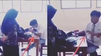 reaksi kocak murid SMA kepergok guru (foto: @gibahanz)