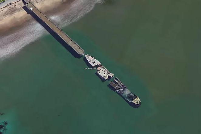 Kapal SS Palo Alto. Foto: Google Earth