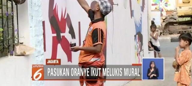 Menyambut Asian Para Games 2018, lukisan mural mulai menghiasi ibu kota.