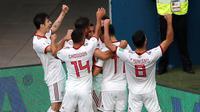 Timnas Iran berhasil meraih kemenangan atas Timnas Maroko di pertandingan pertama Grup B Piala Dunia 2018 yang digelar di Krestovsky Stadium, Saint Petersburg, Jumat (15/6/2018) malam WIB. (AP Photo/Darko Vojinovic)