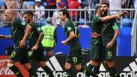 Pencetak gol Timnas Australia ke gawang Denmark, Mile Jedinak. (MANAN VATSYAYANA / AFP)